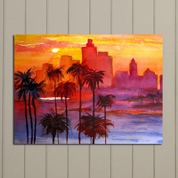 Landscape Sunset Print Of Original Watercolor Los Angeles Skyline