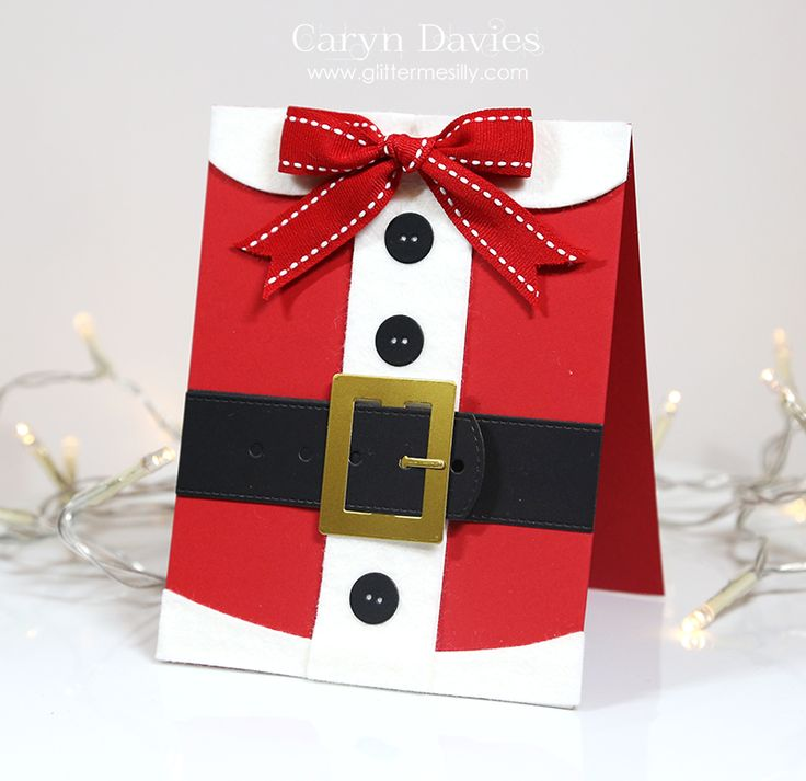 card christmas  MFT santa suit Die-namics and bow ribbon Santa Claus Christmas card! santa belt buckle buttons