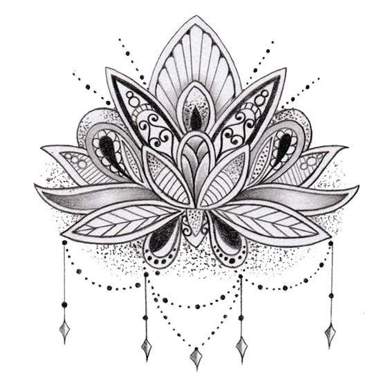 Tatuaje flor de loto temporal por TattooLifeStyle en Etsy