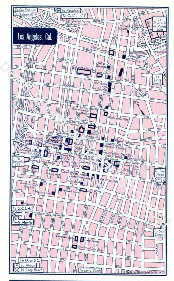 1962 Los Angeles California City Street Map Pdf Digital Download Vintage Maps Street Map California City