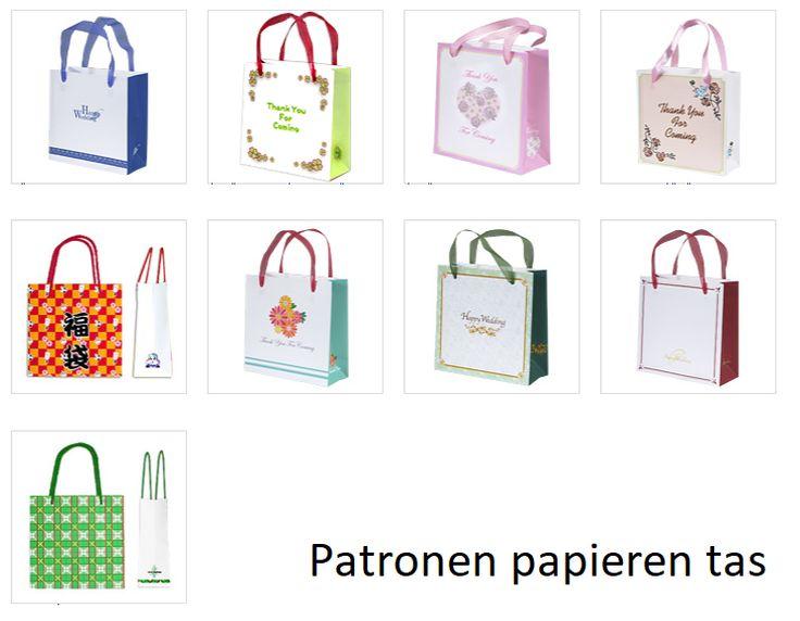 Gratis patronen papieren tas om zelf te maken uit effen gekleurd of wit papier. Vraag de kinderen iets op de het witte papier te tekenen, schrijven of
