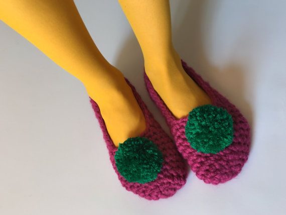 Women's Crochet slippers raspberry slippers with by MyTinyTree