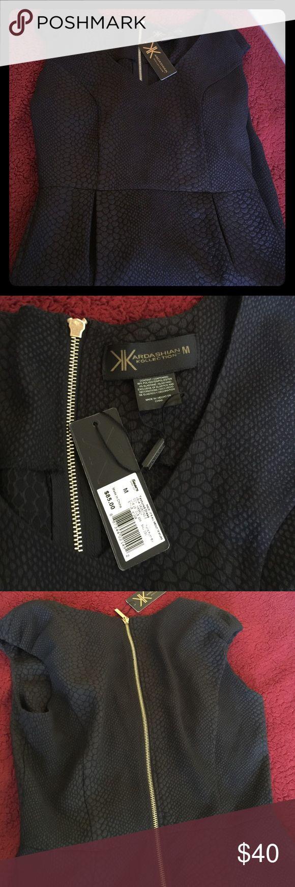 Kardashian Kollection Dress Sz M Beautiful form fitting Kardashian Kollection dress. The back has a gold zipper that zips all the way down, textured dress, and BRAND NEW! Kardashian Kollection Dresses High Low