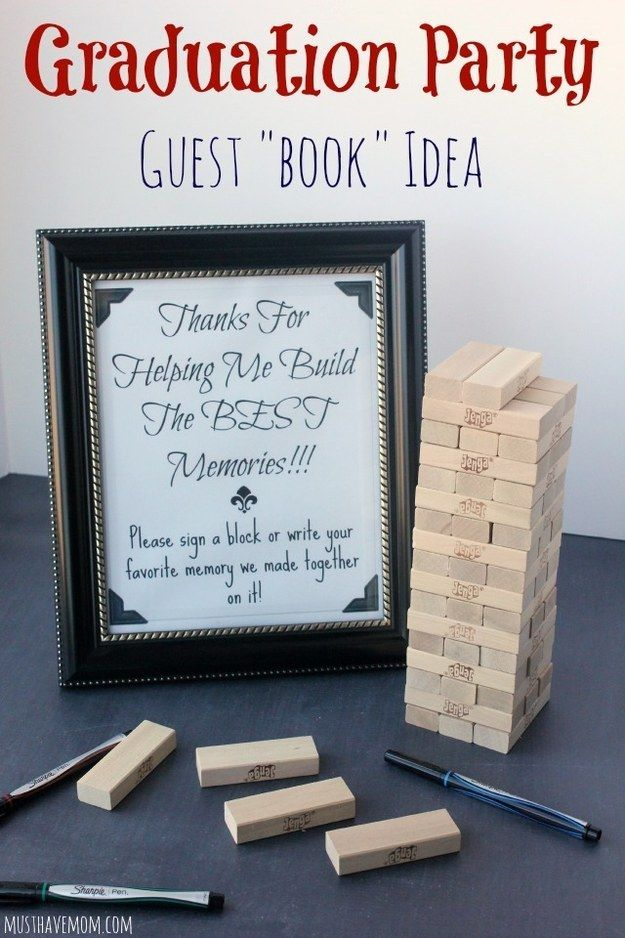 Or make a game out of it by writing on Jenga blocks. | 31 Grad Party Ideas You'll Want To Steal Immediately
