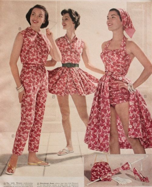 1958 matching jumpsuits, playsuit and bathing suit with skirt and accessories.