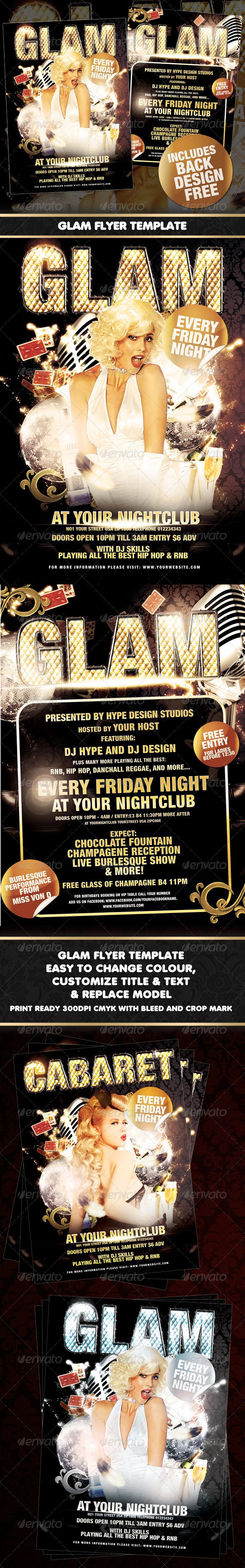 Glam Flyer Template  #GraphicRiver         Glam A3 flyer/poster for nightclubs/bars or events.  	 Perfect for a Burlesque/Cabaret night, stylish club night or a weekly or one off event!  	 Easy to edit layers, text & the title.  	 Easy to replace model  	 - Print ready 300DPI CMYK with bleed and crop mark - A3 (297 × 420 with 3mm bleed) - Main logo is easily changeable. - All text easily changeable - Multiple color options - Miltiple background options - text help file included  	 Models…