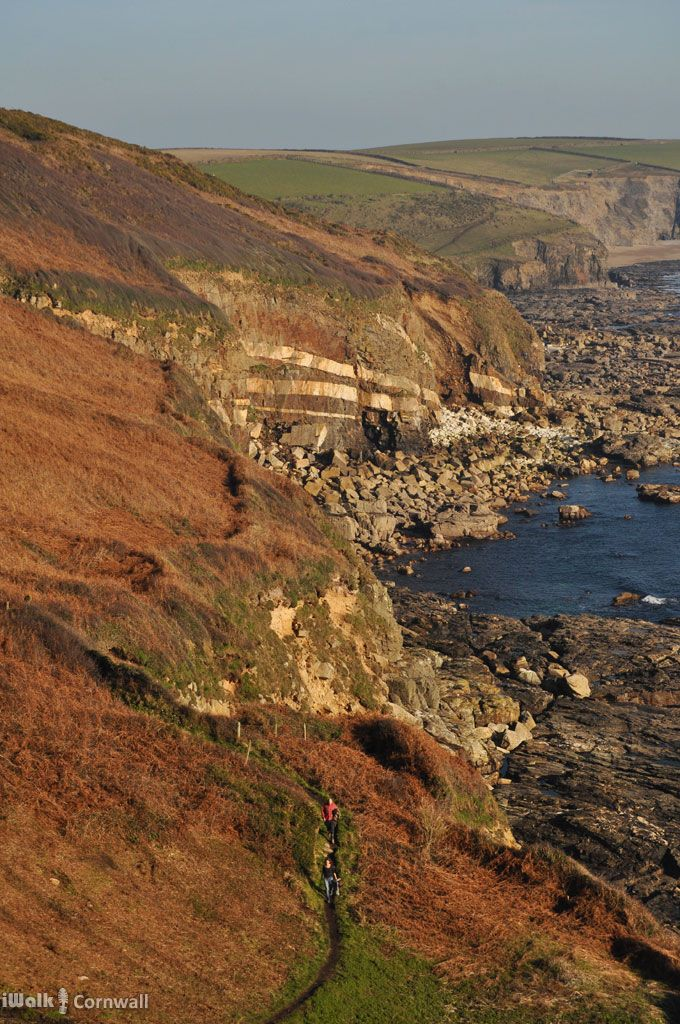The volcanic dykes at Megiliggar Point near Porthleven, Cornwall