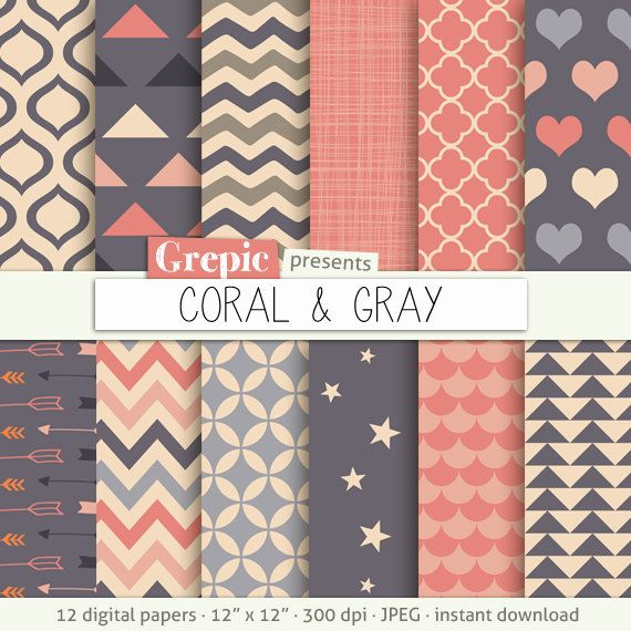 """Coral gray digital paper: """"CORAL & GRAY"""" with triangles, drops, chevron, crosshatch, hearts, quatrefoil, stars in lovely color combinations #patterns #grepic"""