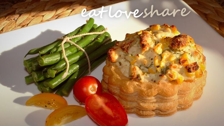chicken corn and chive vol au vents
