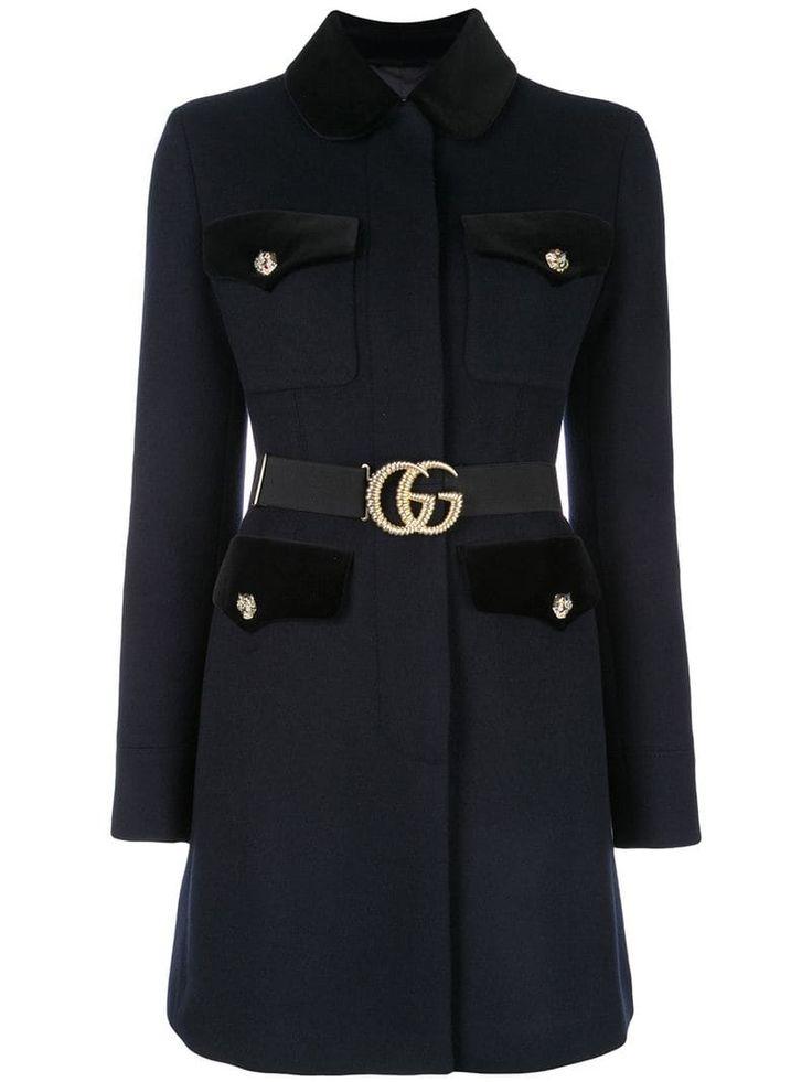 gucci belted coat blue mantel mit guertel mantel modestil