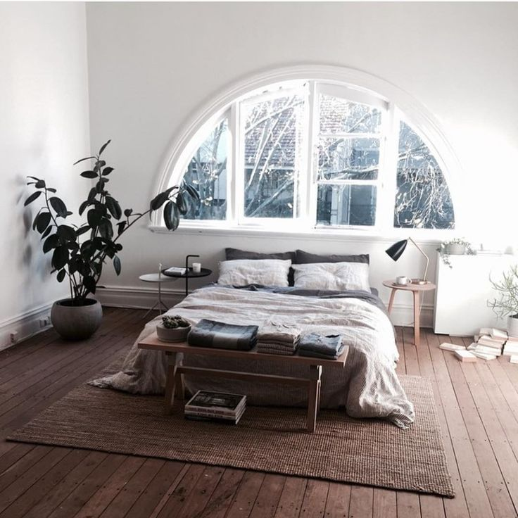 Minimalist Boho Bedroom The Window Gives It A More Bohemian Feel Very Minimal With The Dark Neutral Colors