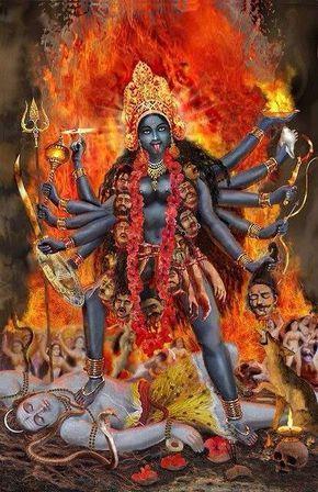 Goddess Kali and her husband Lord Shiva under her feet.
