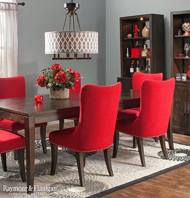 Style and comfort are two must-haves when looking for the perfect dining set, and the Glamour collection delivers on both fronts. The table's rich espresso finish and modern profile offer a clean look, allowing the bright red upholstered chairs with nailhead trim to stand out.