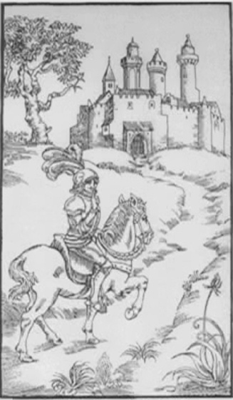 """Ⅰ. First Gate """"Silence is golden""""    A knight rides through a fortified town.  With his finger on his lips, he counsels  prudence or silence."""