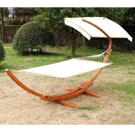 Outsunny Garden Patio Wooden Double Hammock Swing With Frame Stand Half Roof Bed Sunshade Canopy FSC Certificated Wood