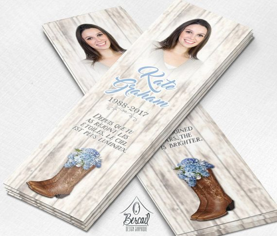 Country Memorial Bookmark for Woman with Cowboy Boots and Blue Flowers • Cowgirl Funeral Bookmarks • Country Girl Celebration of Life OBercailDesign