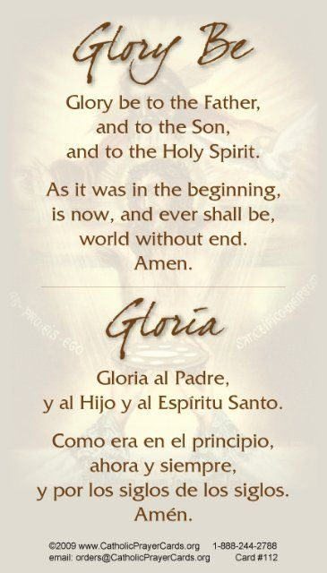 *BILINGUAL* Glory Be Prayer Card (English/Spanish)