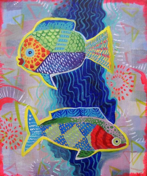 two fish original acrylic painting