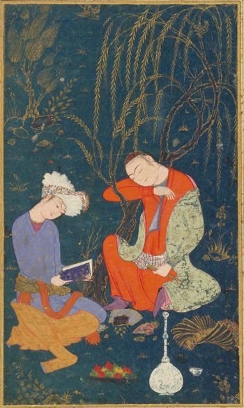 Two youths early 17th century Opaque watercolor and gold on paper H: 40.1 W: 27.1 D: 0.0 cm Iran Purchase--Smithsonian Unrestricted Trust Funds, Smithsonian Collections Acquisition Program, and Dr. Arthur M. Sackler S1986.294 Freer-Sackler | The Smithsonian's Museums of Asian Art