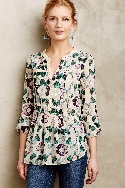 Really like the color combination of the purple and greens.-- Abella Pintuck Blouse - anthropologie.com