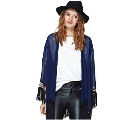Рубашка женщины роскошный черный бахромой подол темно-синий шифон рубашки кимоно кардиган блузки женщины XS-2XL роковой рубашка S021
