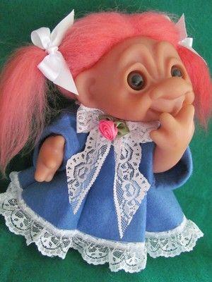 "1977 Dam /Norfin 10""  3.5"" Graduate Troll Dolls in Original Bag w/Added Clothes"