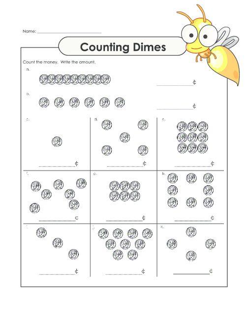 Counting Dimes Worksheet 2 : Worksheets, Free worksheets ...