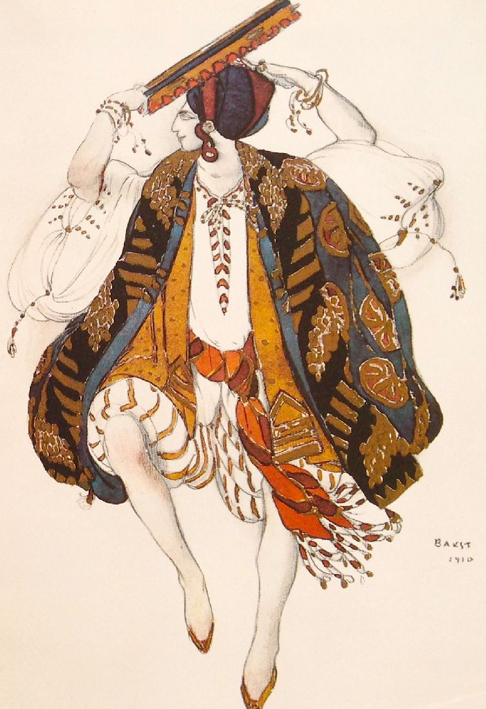 "Leon Bakst. Costume for the Jewish dance. Sketch. The Season of 1909. ""Cleopatra"". Ballet. Music by A.Arensky. Л.С.Бакст. Эскиз костюма для еврейского танца. Сезон 1909 года. Клеопатра. Балет на музыку А.С.Аренского"