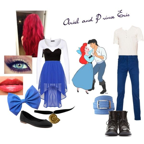 Couples Costume: Ariel and Eric by ashleezy3189 on Polyvore featuring polyvore, fashion, style, Modström, Mimi Blix For Nelly, Glamorous, Balenciaga, Rogan, Officine Creative and Frye