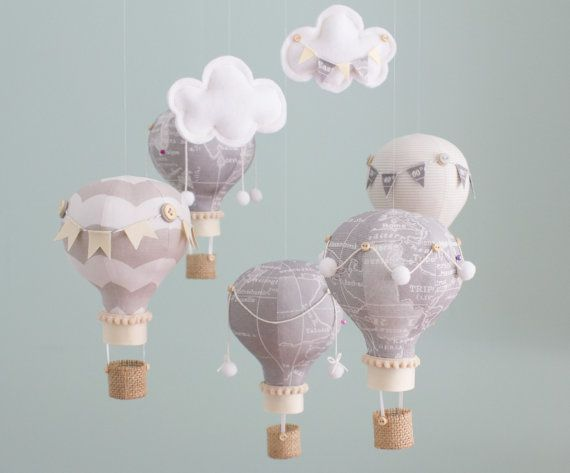 Heirloom Baby Mobile, Hot Air Balloon, Baby Mobile, Map Fabric, Travel Theme Nursery, Nursery Decor, Grey and Khaki, Baby Shower Gift