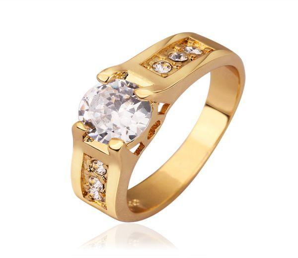 Inel placat cu aur de 18k, 2 microni, cu zirconia (0.6 cm)