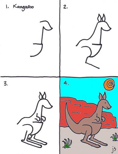 How to draw a Kangaroo - Kids art club for this week