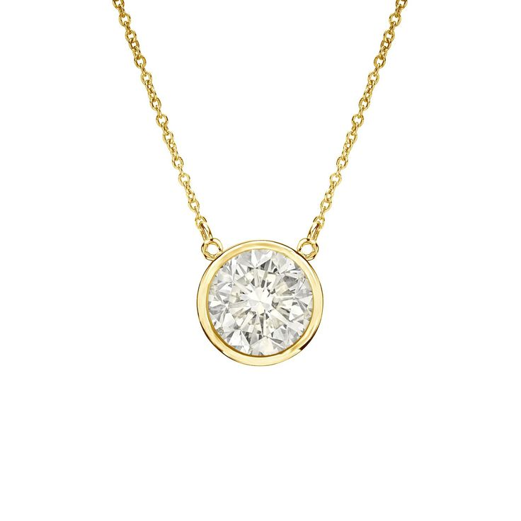 This lovely solitaire necklace features a 1/2ct TDW round-cut diamond in classic bezel setting. Crafted in gleaming 14k gold, this attractive pendant hangs from a 16-inch link chain and secures with a