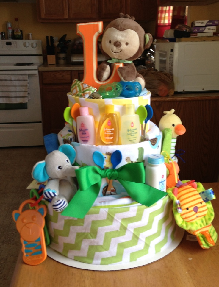 Jungle themed diaper cake for my nephew!!