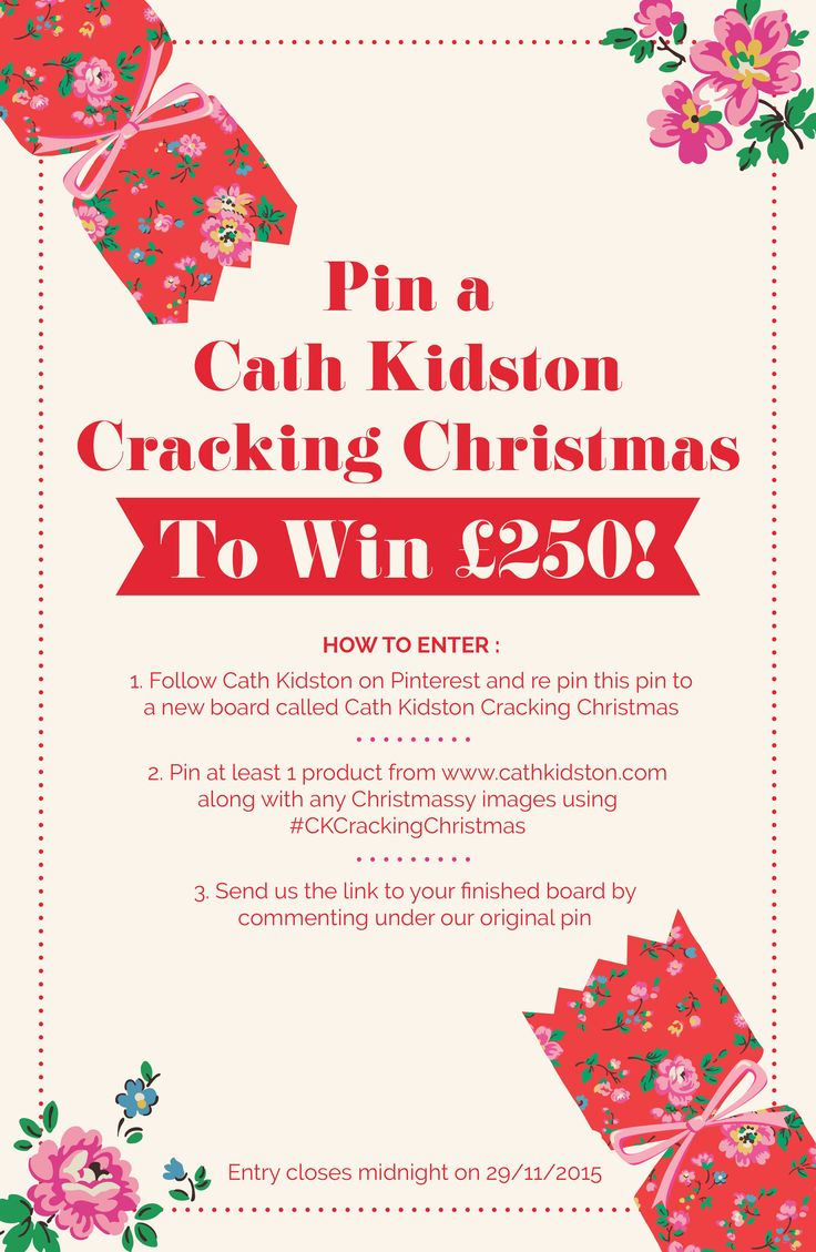 Pin a Cath Kidston cracking Christmas for your chance to win a £250 shopping spree!   Follow these instructions to enter;  1. Follow Cath Kidston on Pinterest and re pin this pin to a new board called Cath Kidston Cracking Christmas 2. Pin at least 1 product from www.cathkidston.com along with any Christmassy images using #CKCrackingChristmas 3. Send us the link to your finished board by commenting under this original Pin.   Find out more here > http://bit.ly/CKPinChristmas