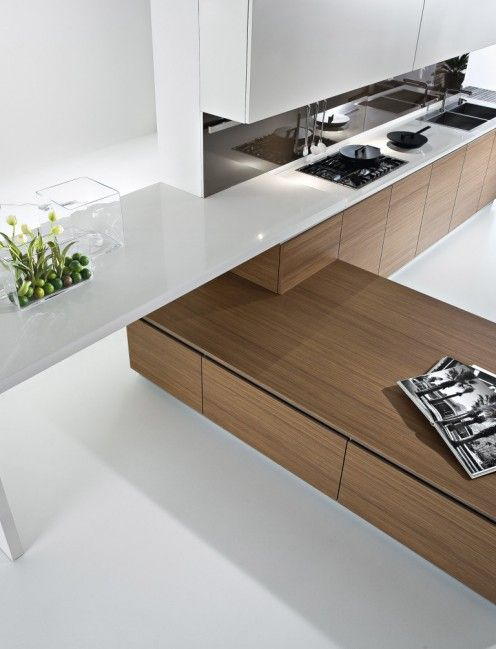 *modern interiors, kitche design, white, interesting counter detail*