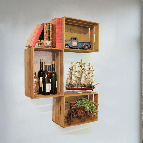 Features:  -Set includes 3 wooden crates.  -Easy to install on wall or stack and how many you like, the way your want (no screws included).  -Great gift idea.  Finish: -Brown.  Distressed: -Yes.  Fram