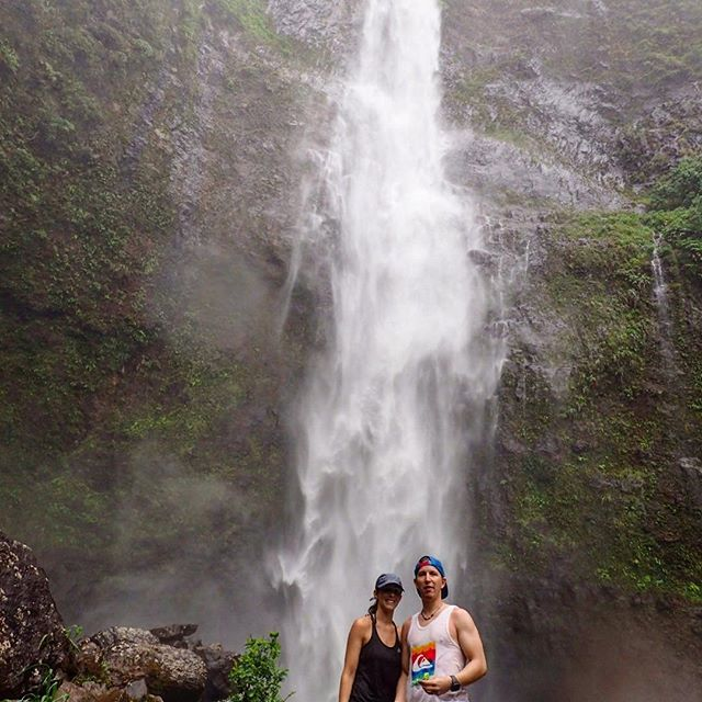 This is a shot from our first time to Hanakapiai Falls on the Napali Coast in 2015. We hiked 12 miles round trip through mudslides, slippery rocks, pouring rain and waste deep gushing creeks wondering if we were going to survive, only to find out upon our return that the trail was closed the whole time. Normally this 300 feet high waterfall is nothing but a trickle T'was a wild adventure, but like any adventure, it turned into a great story and an even better memory.