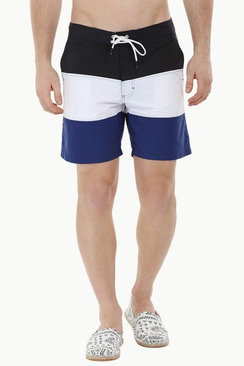 16f9b7816f Shop Online Best Online Buy Beach Swim Shorts for Men in Black, White and  Royal Colourblock at cheap prices in India. Buy Men's Swimwear at Zobello  with ...