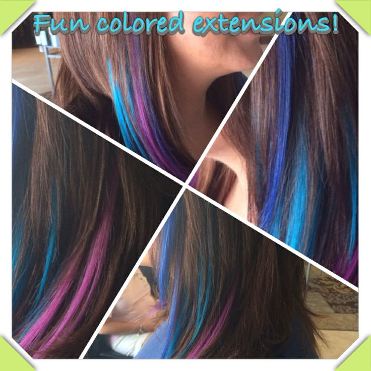 Peek a boo blue turquoise and purple extensions  Bellissimohairsalon.com