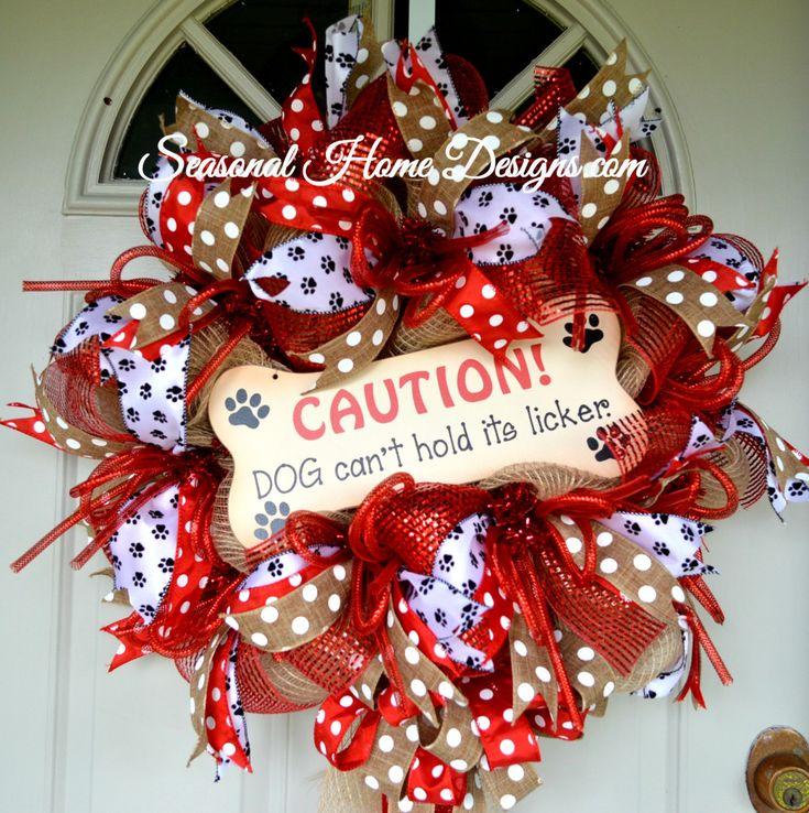 Deco Mesh Wreath, Dog Themed Wreath, Pet Wreath, Front Door Wreath, Pet Lover's Wreath by SeasonalHomeDesigns on Etsy