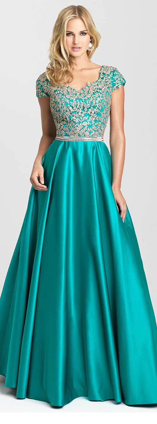 Graceful Satin V-neck Neckline A-line Prom Dresses With Beaded Lace Appliques https://bellanblue.com