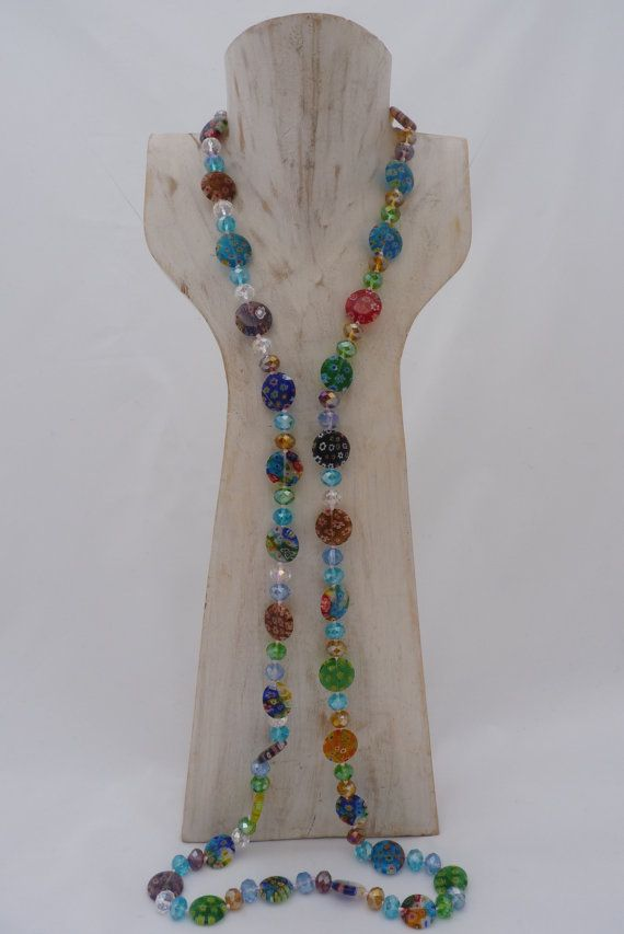Millefiori Necklace Round or oblong shape with coloured crystalsby UPMARKETJEWELS on Etsy