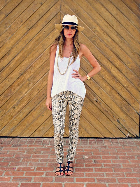 only wonderful things happen when one wears snake print pants - a little white mouse