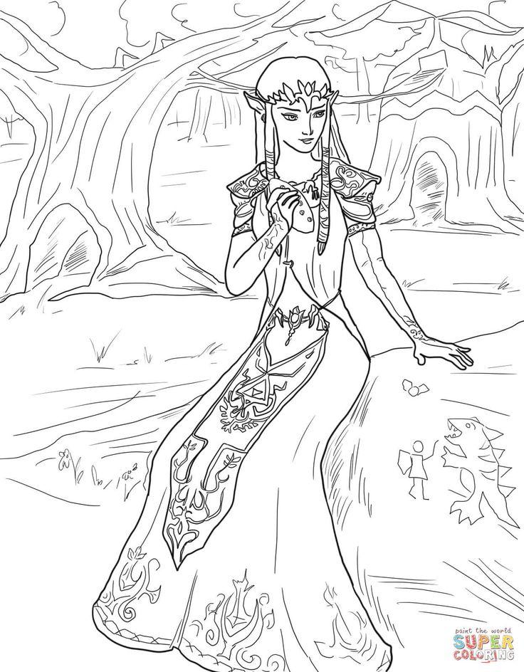 princess zelda coloring pages   Mejores 23 imágenes de Imágenes para colorear - Zelda en ...