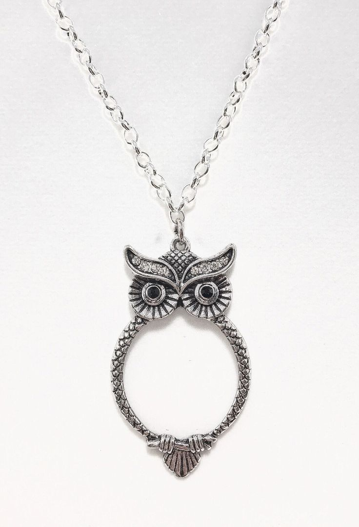 """Hoot! Pave Owl Pendant that doubles as an actual magnifying glass! Sterling Silver 15 1/2"""" chain! Just in time for Fall! #fallfashion #fallstyle #owljewelry #owlnecklaces #crystaljewelry #silverjewelry #pendants #handmadejewelry #etsyseller #etsyshop #etsyfinds #giftsforher #owls"""