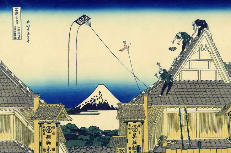 Katsushika Hokusai - 江都駿河町三井見世略図-Kōto Suruga-cho Mitsui Miseryakuzu