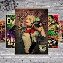 Vintage Batman Harley Quinn Comando Suicida del Cartel de Película Retro Papel Kraft Bar Pintura Decoración Del Hogar Etiqueta de la Pared Wallpaper(China)