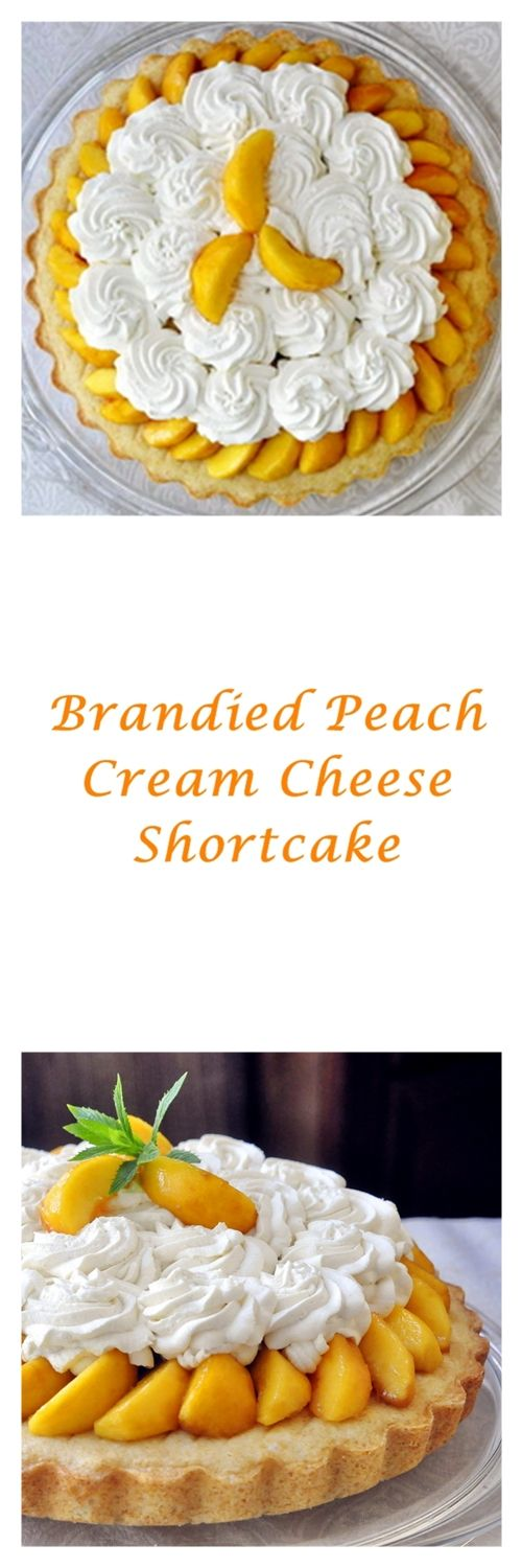 Brandied Peach Cream Cheese Shortcake - a cream cheese batter shortcake with brandied peaches and whipped cream. Bourbon or rum work well too, as does omitting the alcohol and letting the sweet, ripe peach flavor take center stage.