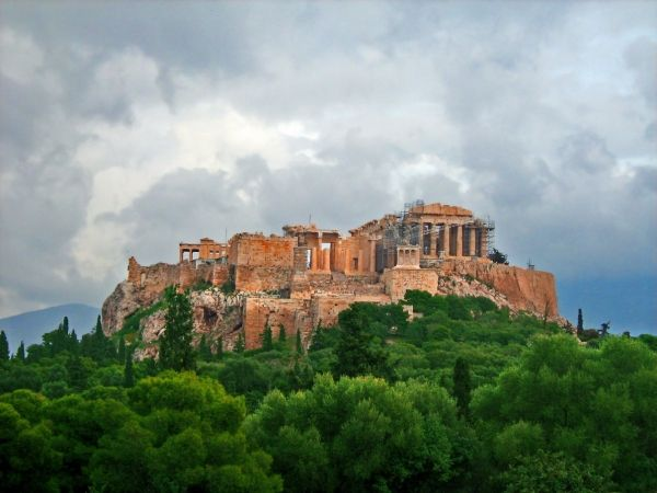 Dark clouds coming over the Acropolis Hill